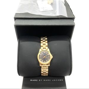 Marc by Marc Jacobs Gold Tone Black Face Watch